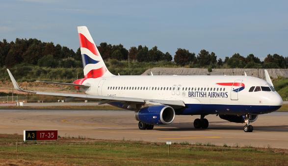 Airbus A320 da BA. Foto tirada por Alberto Guedes